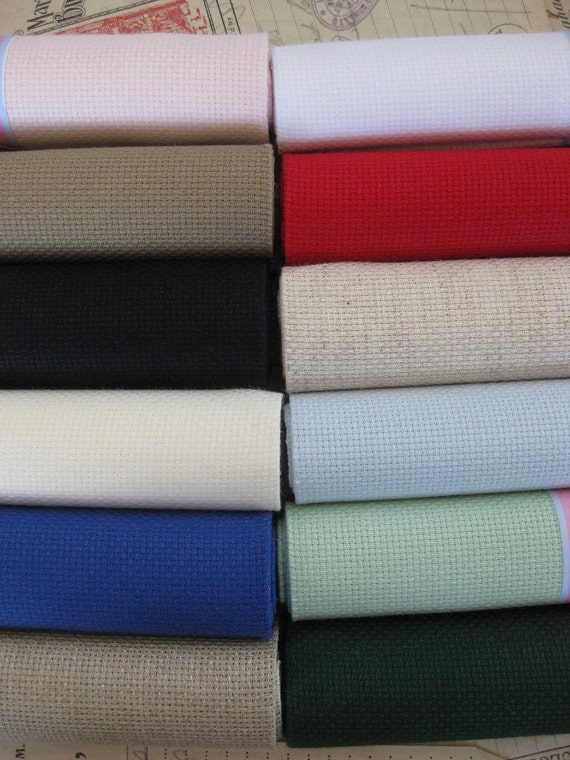 sajou 14 count 55 l cher pro cm aida stoff 12 farben. Black Bedroom Furniture Sets. Home Design Ideas