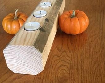 Tea-light holder reclaimed wood