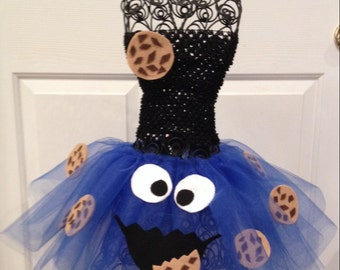 Cookie Monster Halloween Costume Tutu and Cookie pin