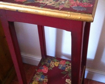 Antique Plant Stand Decoupage Floral