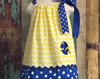 Finding dory pillowcase dress, Pillow case dress, Disney Pillowcase Dress