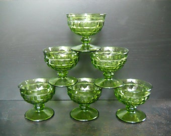 Lot of 6 vintage green glass ice cream dishes