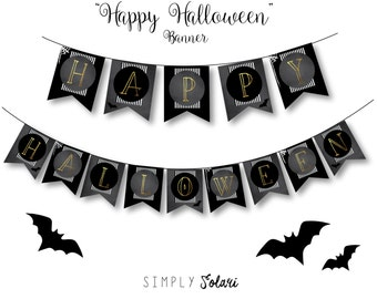 HAPPP HALLOWEEN BANNER-Halloween Party Decor-Banner