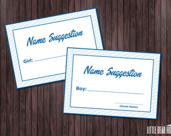 Printable Royal Blue Name Suggestion Cards for Baby Shower