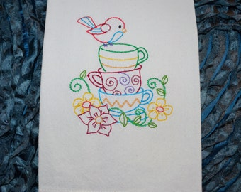 Embroidered Towel, Bird on Teacups, Shipping Included!