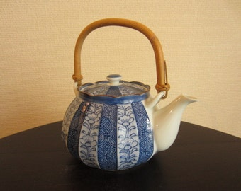 Blue and White Japanese Porcelain Teapot from the 1990s
