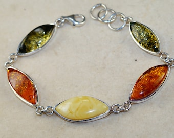 Natural Cognac and Green and Butterscotch Baltic Amber & 925 Sterling Silver Bracelet