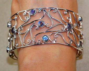 Fancy Labradorite Cuff  set in 925 Sterling Silver Bracelet