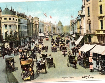Regent Street, London: Vintage Street Scene Postcard 10017