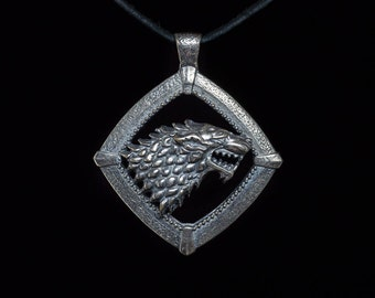 House Stark Direwolf Pendant, Game of Thrones, silver-plated brass, handmade ..... House Stark Pendant, Game of Thrones Pendant
