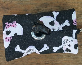 Black White and Pink Glitter Skulls Doggie Waste Bag Dispenser Keychain