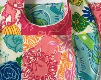 Lilly Pink Lions: bib & burp cloth set