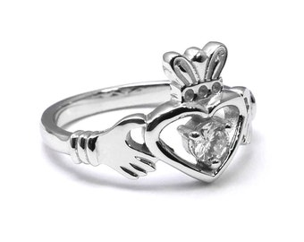 Round Diamond Solitaire Claddagh Engagement Ring
