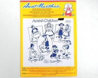 Aunt Martha's Hot Iron Transfers 3921 Amish Children Vintage Pattern
