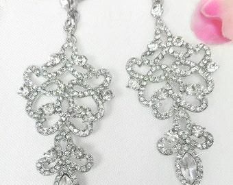 Vintage Crystal  Bridal Earrings, Vintage Rhinestone Earrings Bridal, Chandelier Earrings Wedding, Vintage Earrings Wedding Jewelry