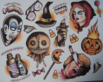 Trick 'R Treat tattoo flash print
