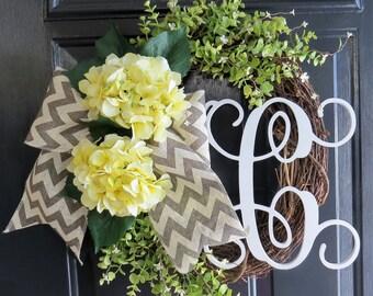 Yellow Hydrangea Wreath. Spring Wreath. Summer Wreath. Monogram Wreath. Front Door Wreath. Chevron Wreath. Burlap Wreath. Grapevine Wreath.