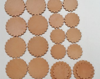 """Leather Concho Rosette - 1 1/2"""" Concho in Natural"""