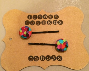 Multicolor fabric button bobby pins