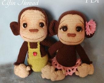 Elfin Thread- Naimba and Namboro, the Baby Monkeys Amigurumi PDF Pattern (Crochet Pattern)