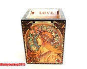 Makeup Organizer Wooden Holder Gift for women Mother's Day Alphonse Mucha Zodiac Makeup Storage Cosmetic -used 3D-effect potch.