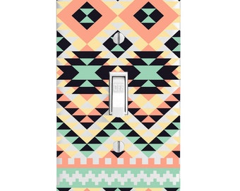 Light Switch Cover-Southwest Geometric Pattern-Home Decorating-Wall Decor-Bedroom-Bathroom-Kitchen-Housewarming-Lighting-Toggle-Outlet Cover