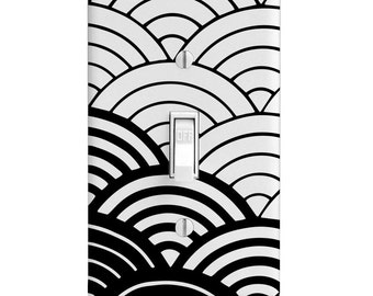Home Decor-Light Switch Plate Black and White Scales Pattern-Light Switchplate-Switch cover-Outlet-Toggle-Rocker-Wall Decor-Decorative