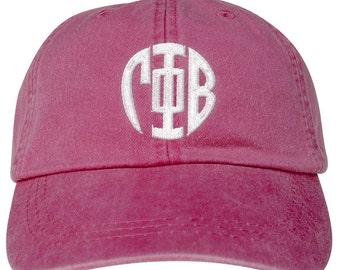 Gamma Phi Beta Lettered Round Monogram Premium Pastel Hat