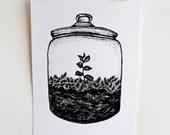 Terrarium Jar, 'Growing Ideas', Black and White, A5 Screen Print
