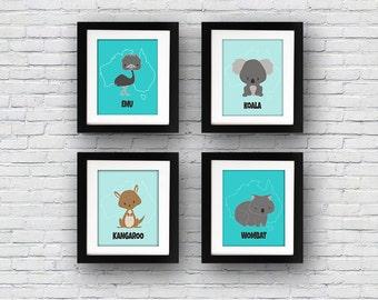 Set of 4 Australian Outback Animals Koala Kangaroo Wombat Emu Printable Art Nursery Baby Wall Decor Children Child Download Poster Print