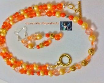 Orange- Goldenrod Necklace & Earring  NE#0006  (One Of A Kind)