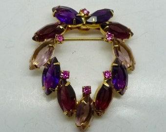 Vintage Amethyst Shades of Purple Rhinestone Brooch