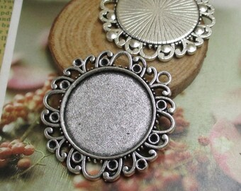 5pcs 25mm Silver Cameo Cabochon Base Setting Pendants,1inch (25mm) Round Blank Findings Trays --b2111