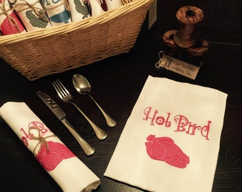 100% Luxury Cotton Embroidered Quirky Hot Bird Napkin Serviette White Cotton HOT BIRD Napkin