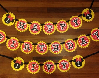 Minnie Mouse Happy Birthday Banner