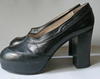 """Vintage leather platform """"Beltin Shoes"""", made in 60ies."""