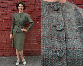 Vintage 1950s Suit | Olive Green and Red Two Piece Skirt and Jacket | Small