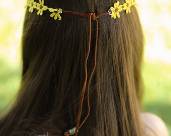 Fall Flower Leather Tiebback with beads and feathers