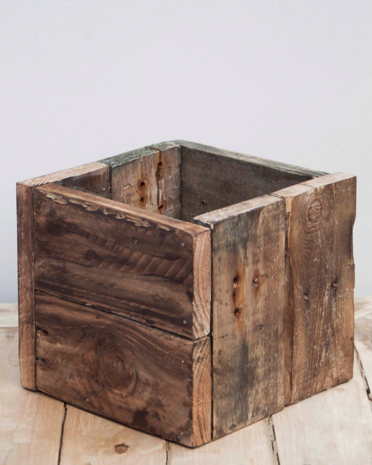 Large rustic wooden box