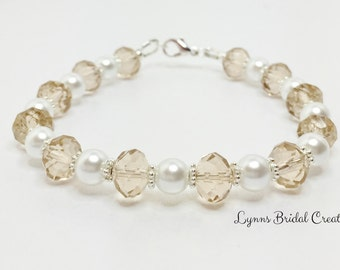 Topaz Crystal Bracelet Champagne Crystal and Pearl Wedding Bracelet Topaz Bridesmaid Gift Bridal Party Gift Mother of the Bride Jewelry Set