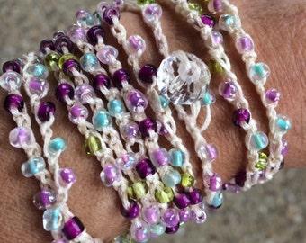 Crochet wrap seed bead bracelet