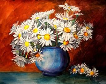 Original watercolor painting Flowers Daisies Watercolour Art