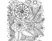 instant digital download - adult coloring page - flowers