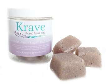 Lavender Sugar Scrub cubes 8oz - All natural - Bath and Beauty products