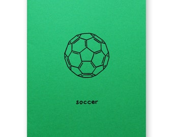 Soccer Card - Bucky Ball Chemistry Nerd Geek Card - sport, football, athlete, play ball - Buckminster fullerene