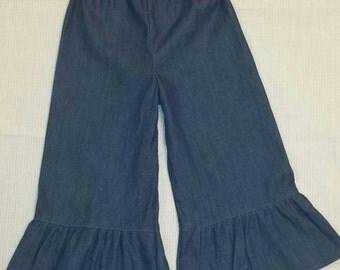Denim ruffle, Ruffle Pants, boutique pants, Boutique pants, girls clothing