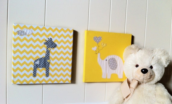 Nursery animal art yellow fabric wall art by for Yellow nursery fabric