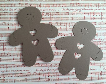 10 Large Gingerbread Men, Kraft, Ginger Bread Die Cuts for Cards/Toppers Christmas Festive Craft Card making Scrapbooking