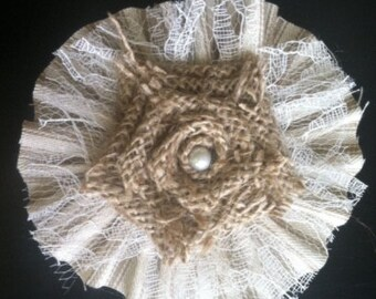 "Burlap Flower with Tan Stripe Ticking Ruffle 4"" Wedding Venue Rustic Outdoor Table Cottage Chic Decor *Purchase Per Piece*"