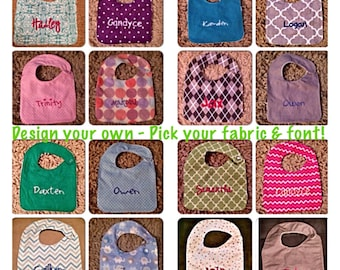 6 Personalized Baby Bibs